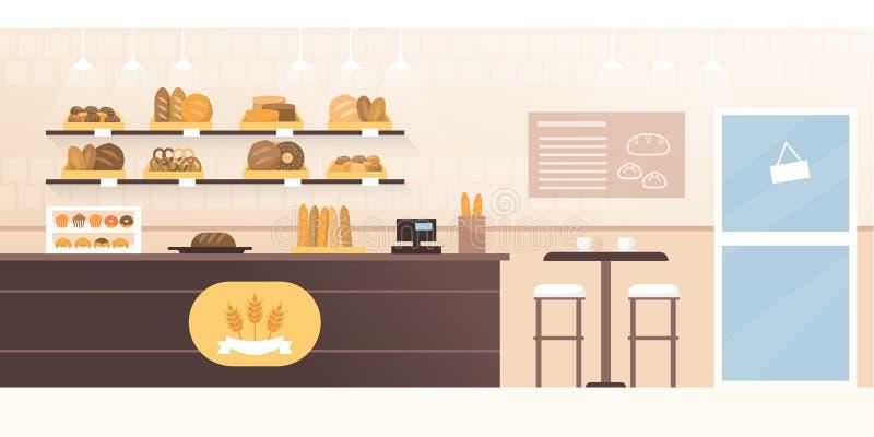 Bäckereigeschäft und -cafeteria mit Innenraum des frischen Brotes lizenzfreie abbildung