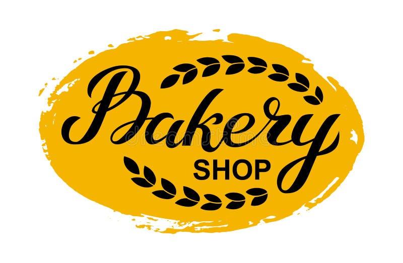 Bäckereigeschäfts-Logokarte Typografiehandgezogene Vektorillustration, Plakat mit den Ohren des Weizens Fahnenschablone vektor abbildung