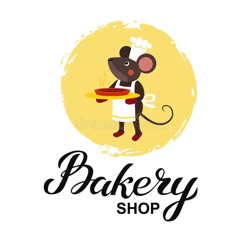 Bäckereigeschäfts-Logokarte Typografiehandgezogene Vektorillustration, Plakat mit Mäusekochchef mit heißer Torte in den Tatzen lizenzfreie abbildung