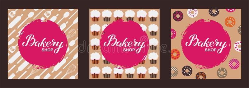 Bäckereigeschäftslogo-Kartensatz Typografiehandgezogene Vektorillustration, Plakat mit utencils, kleine Kuchen, Schaumgummiringe  stock abbildung