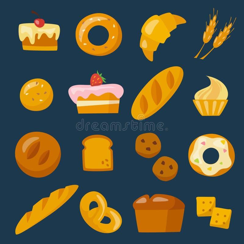 Bäckereiikonen eingestellt in flache Art stock abbildung
