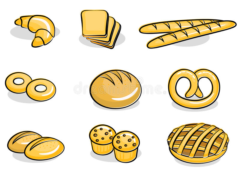 Bäckereiikonenset Lizenzfreies Stockbild