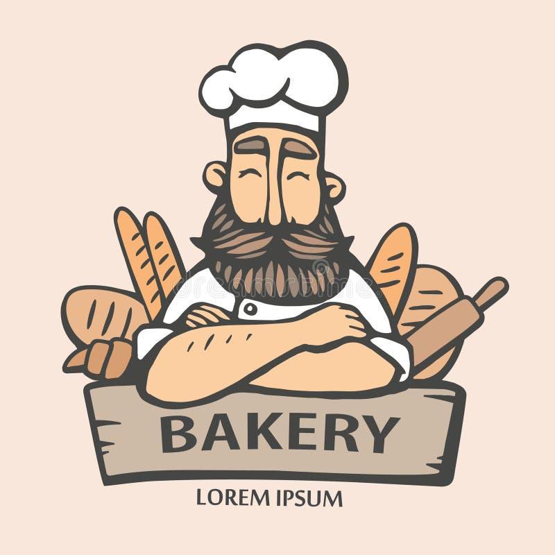 Bäckereilogo Übergeben Sie gezogene Vektorillustration des Leiterkochers mit einem Schnurrbart und des Bartes herein mit einem Br vektor abbildung