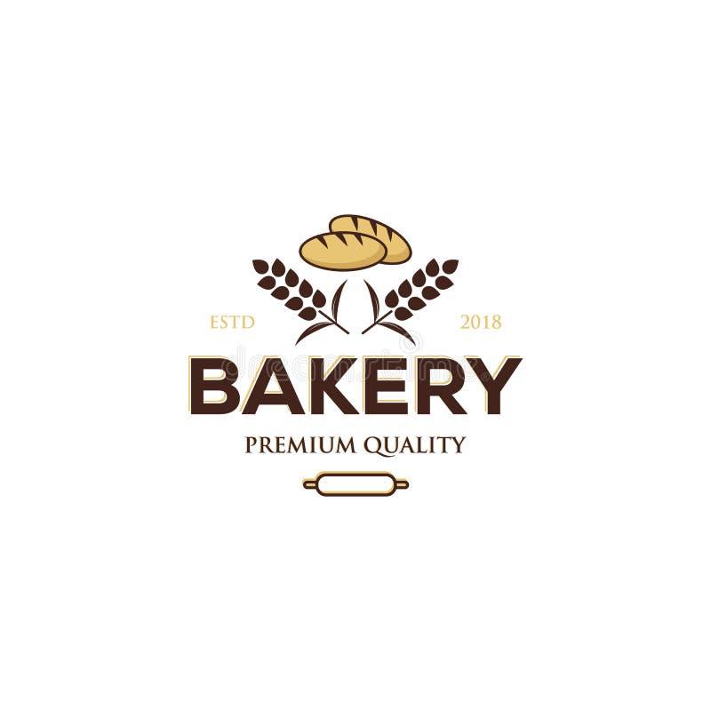 Bäckereilogoentwurf, erstklassige Qualität, Weinleseart mit Brot und Weizensymbol vektor abbildung