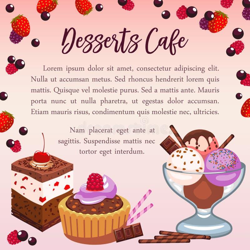 Bäckereinachtisch-Vektorplakat für Café vektor abbildung