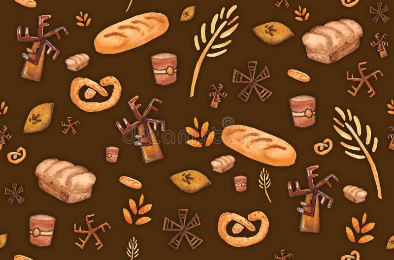 Bäckereiprodukte, backender Druck Nahtloses Muster des Geb?cks Netter Küchenhintergrund lizenzfreie abbildung