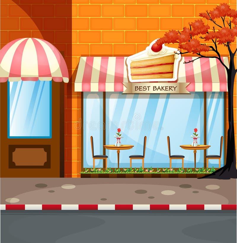 Bäckereishop mit Tabellen und Stühlen draußen stock abbildung