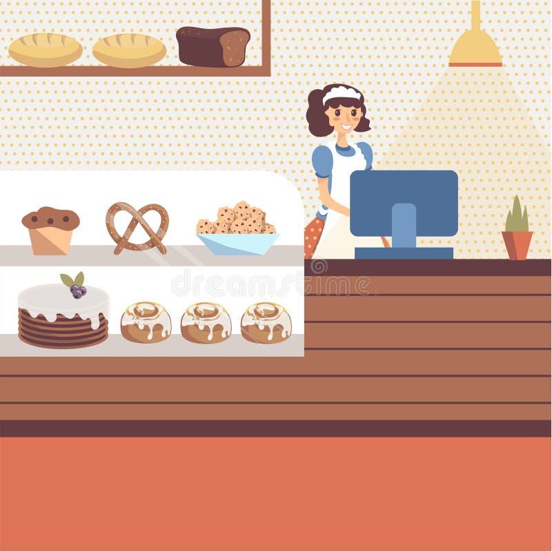 Bäckereishopinnenraum mit dem Glasschaukasten voll vom Gebäck und vom Brot stock abbildung