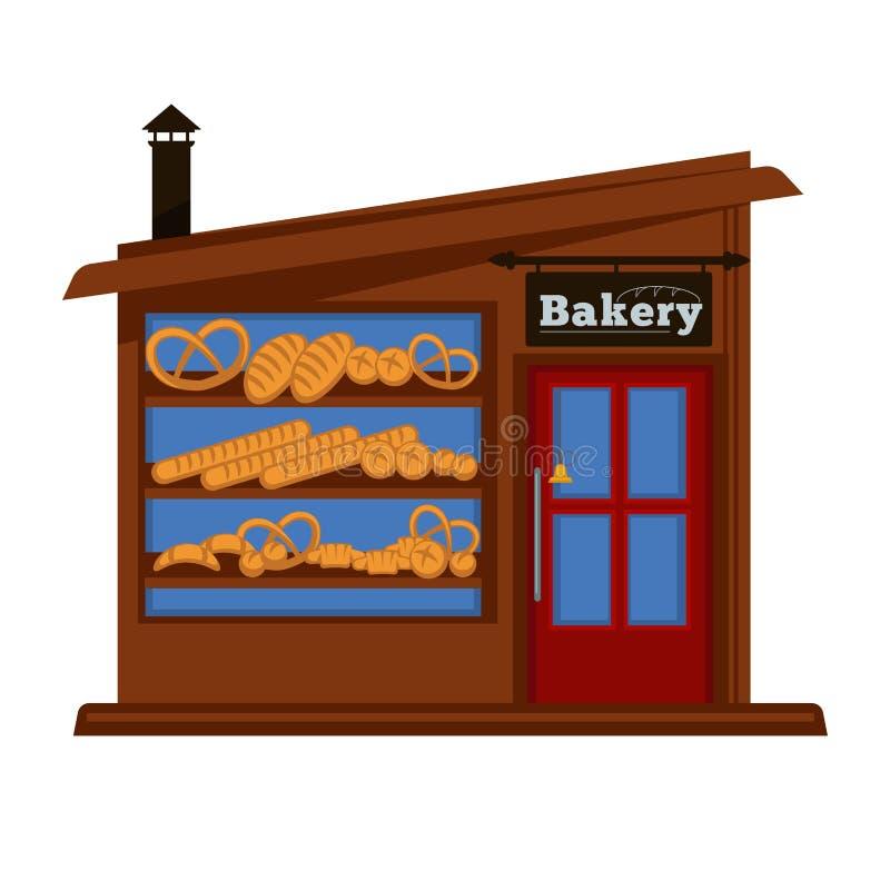 Bäckereishopstand-Fassadengebäude des flachen Designs des Brotverkäuferspeicher-Vektors lokalisierte Ikone lizenzfreie abbildung