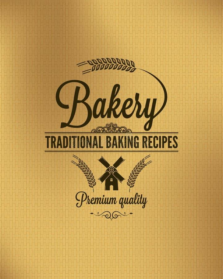 Bäckereiweinlesebrot-Aufkleberhintergrund stock abbildung