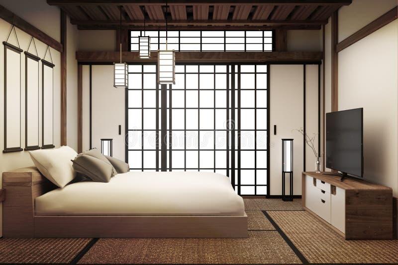Bädda ned rum, har den japanska sängruminre lampan och smart TV framf?rande 3d vektor illustrationer