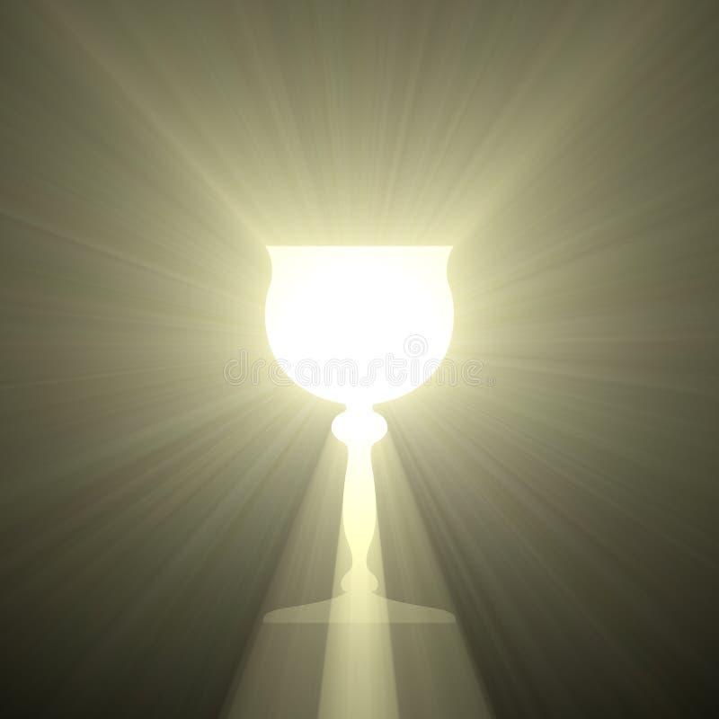 Bägare för helig gral av ljus stock illustrationer