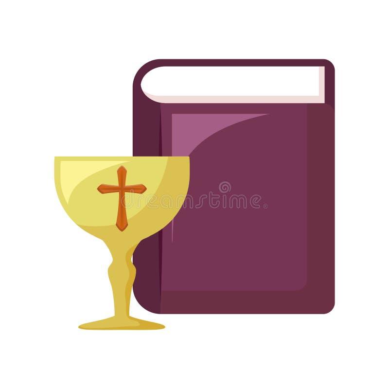 Bägare som är sakral med den heliga bibeln royaltyfri illustrationer