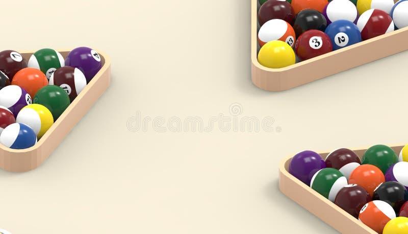 Bälle für dreifachen Abschluss des Billardpool-Snookers oben auf Tabelle orange Hintergrund stock abbildung
