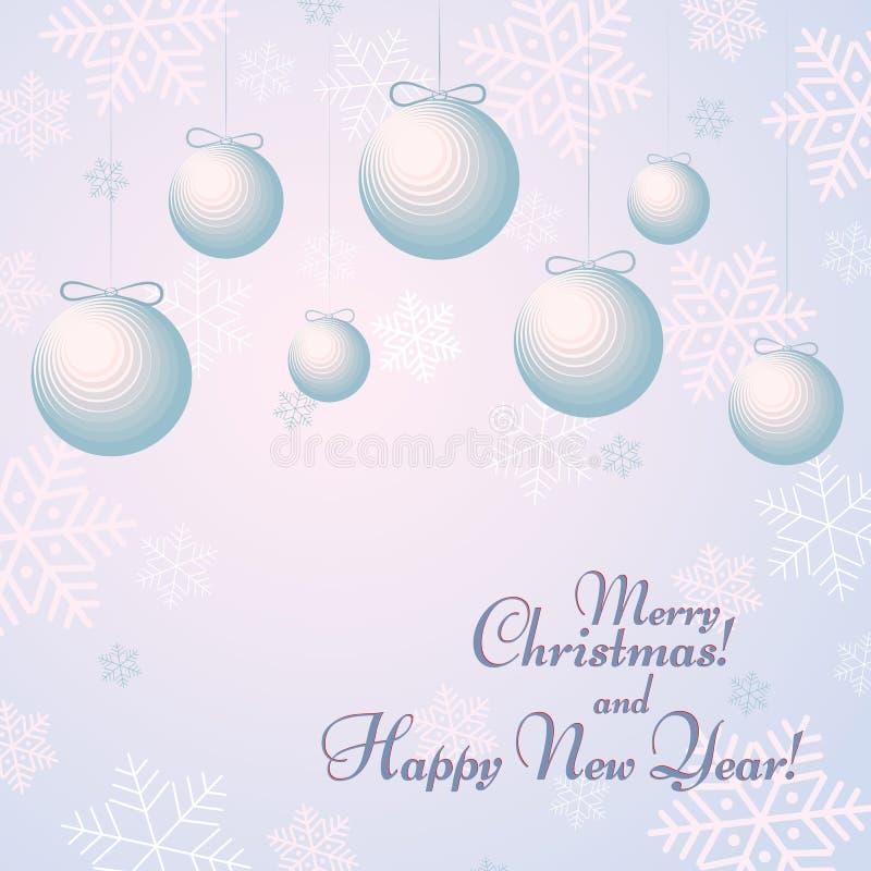 Bälle mit Bögen auf einem Hintergrund mit Schneeflocken simsen guten Rutsch ins Neue Jahr-und frohe Weihnacht-Winterhintergrund stock abbildung