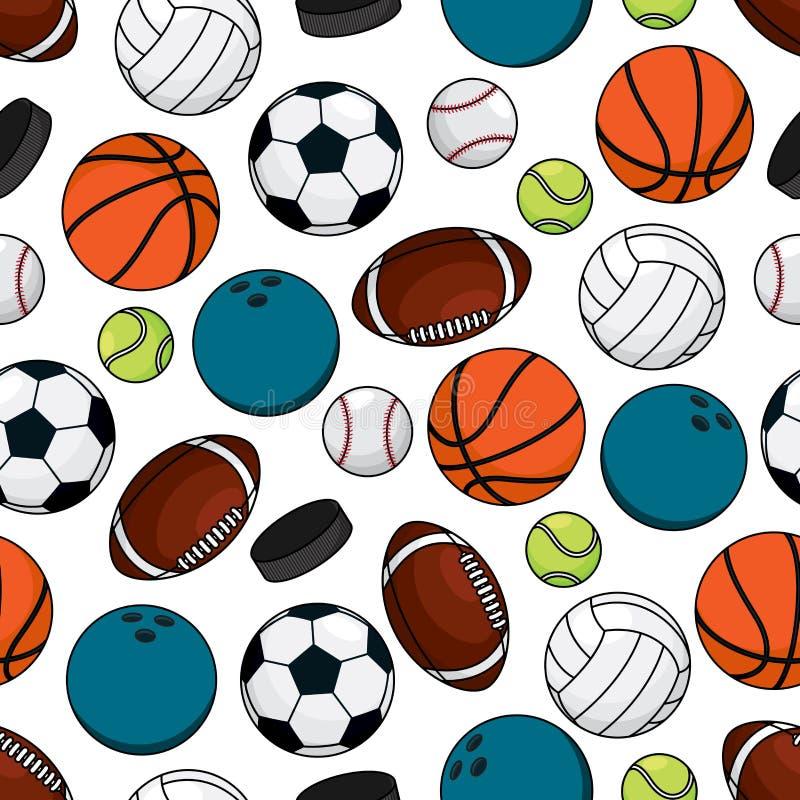 Bälle und Kobolde für nahtloses Muster der Teamspiele lizenzfreie abbildung