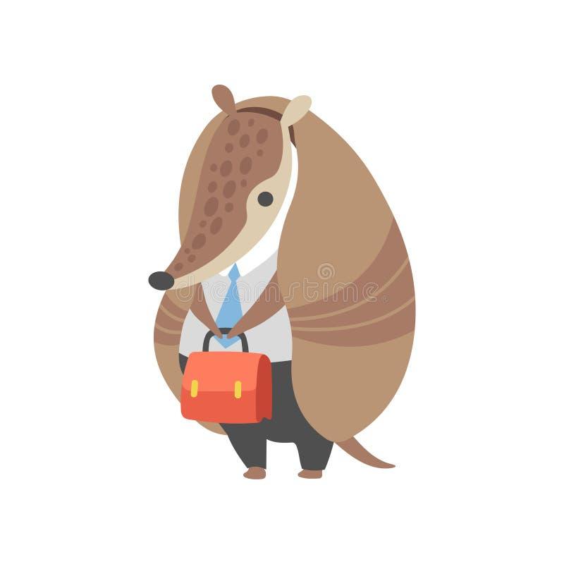 Bältdjuraffärsman Standing med bärande affärskläder för portfölj, kontorsarbetare, Pleistocene djur tecknad film stock illustrationer