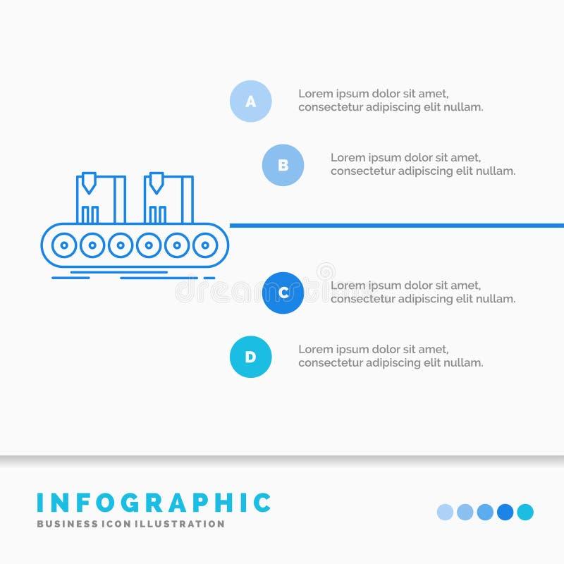 Bälte, ask, transportör, fabrik, linje Infographics mall för Website och presentation Linje infographic stilvektor f?r bl? symbol royaltyfri illustrationer