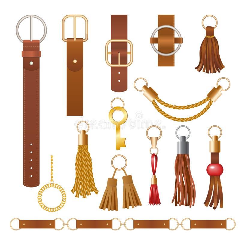 Bälteselement Strålningskedjorna i Fashion-lädertextilier, eleganta smycken för insamling av klädbärare stock illustrationer