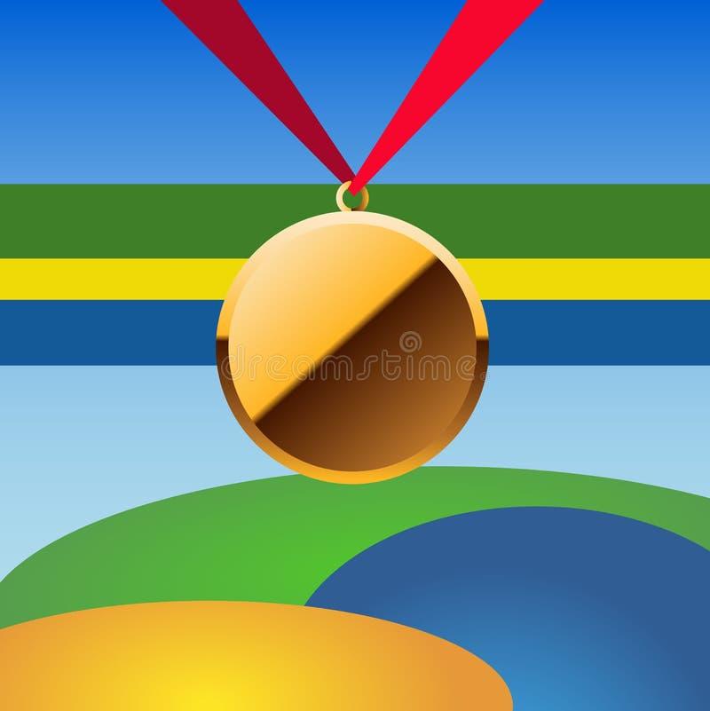 Bända medaljer för vektor för vinnare som är guld- med bandet eps 10 stock illustrationer