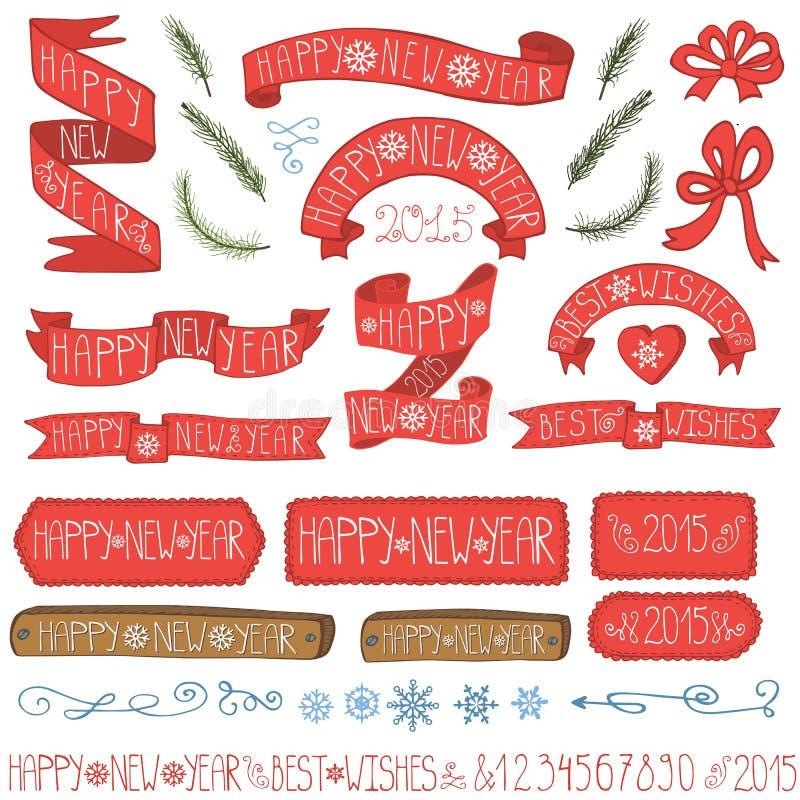 Bänder des neuen Jahres, Ausweise, Winterdekorsatz lizenzfreie abbildung