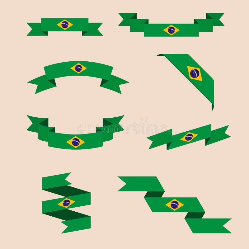 Bänder oder Fahnen in den Farben der brasilianischen Flagge stock abbildung