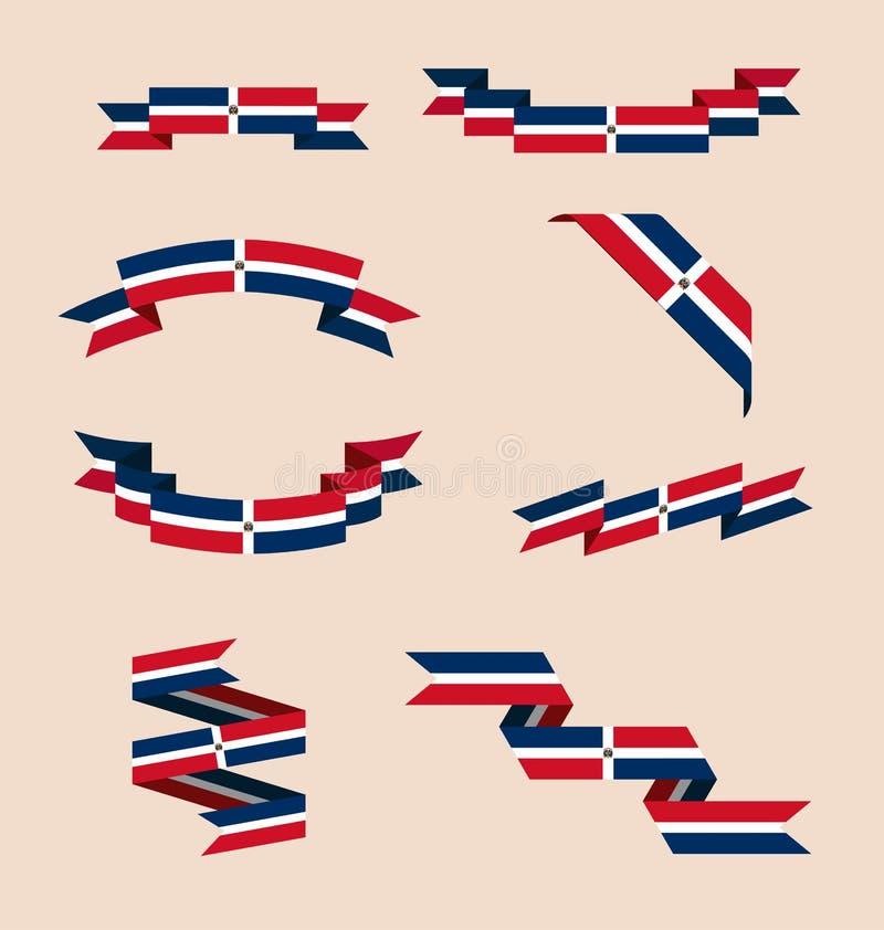 Bänder oder Fahnen in den Farben der dominikanischen Flagge stock abbildung