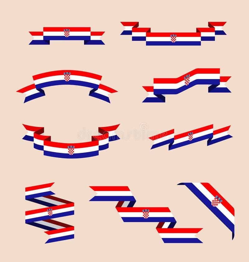 Bänder oder Fahnen in den Farben der kroatischen Flagge stock abbildung