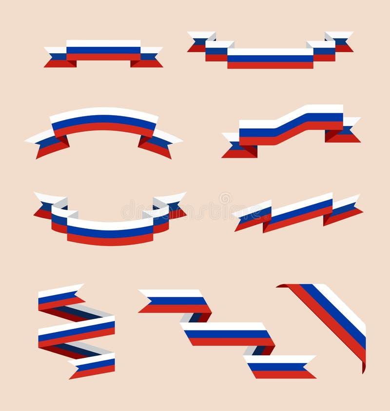 Bänder oder Fahnen in den Farben der russischen Flagge vektor abbildung