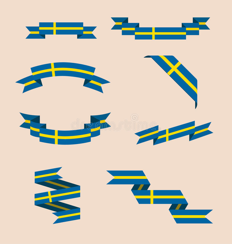 Bänder oder Fahnen in den Farben der schwedischen Flagge vektor abbildung
