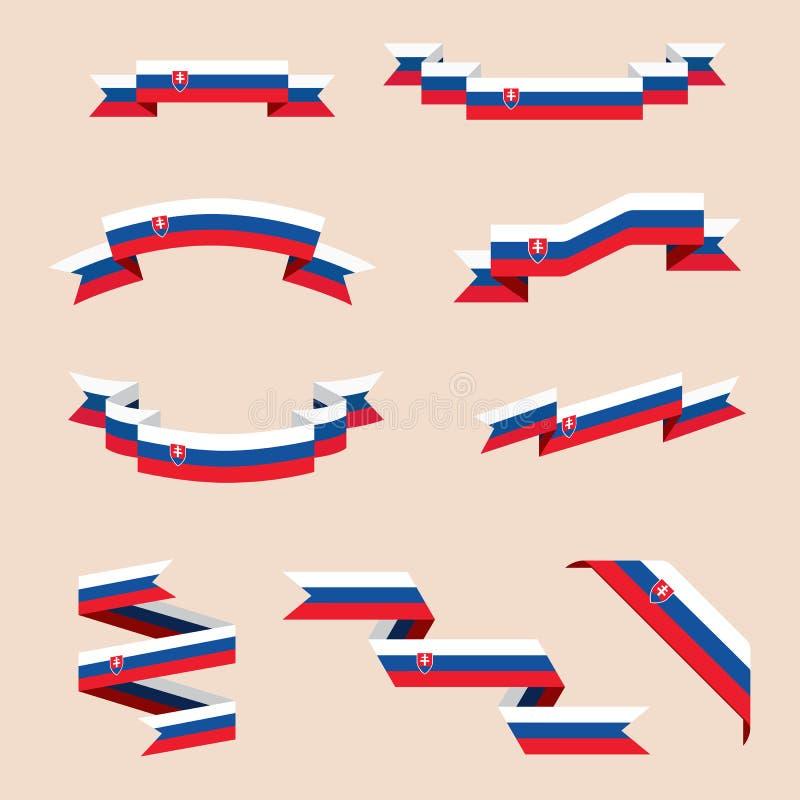 Bänder oder Fahnen in den Farben der slowakischen Flagge lizenzfreie abbildung