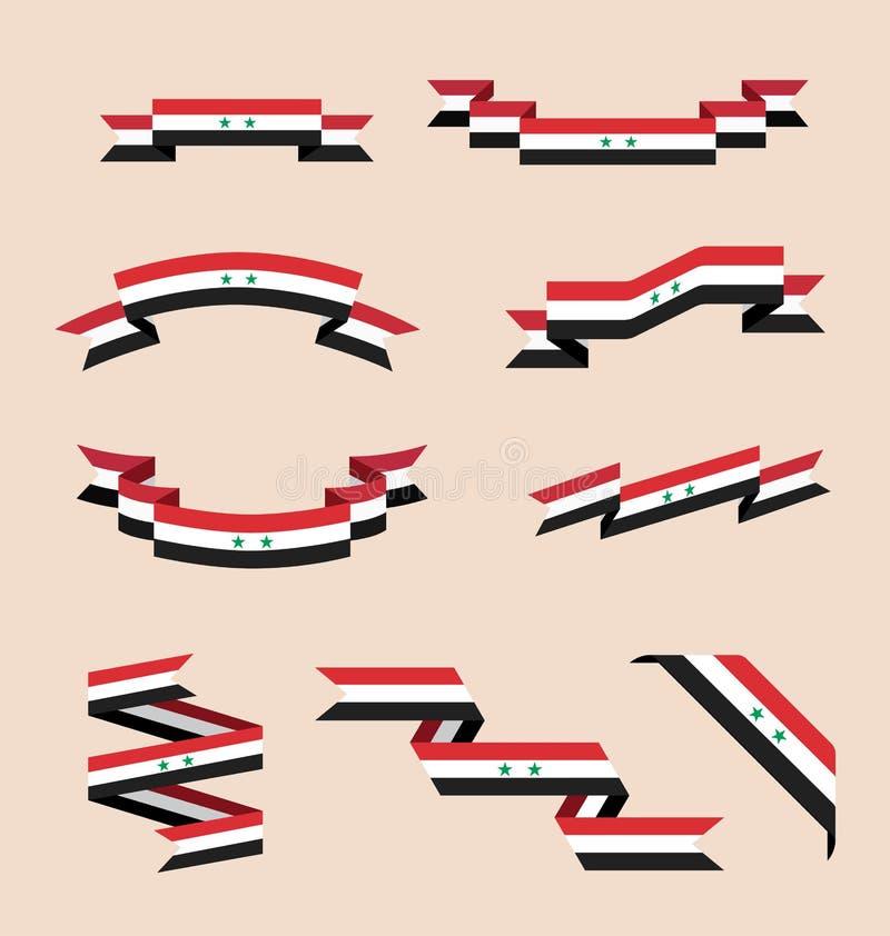 Bänder oder Fahnen in den Farben der syrischen Flagge stock abbildung