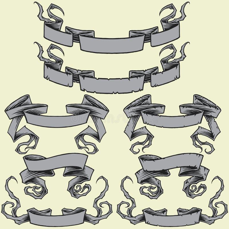 Bänder u. beschädigten die eingestellten Bänder stock abbildung