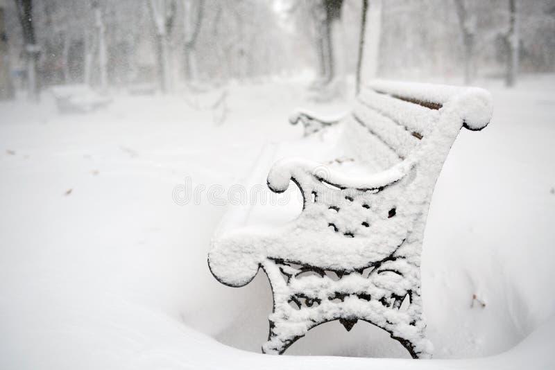 Bänk i parkera som täckas med insnöad vinter royaltyfri foto