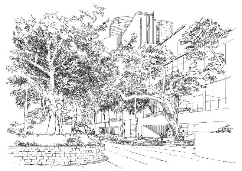 bänk i parkera under träd royaltyfri illustrationer