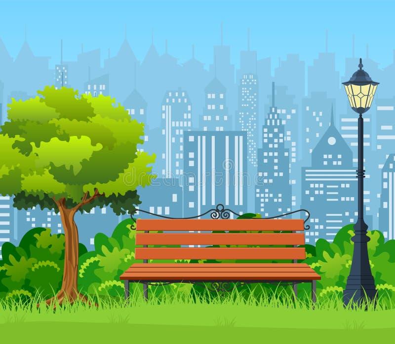 Bänk med trädet och lykta i parkera stock illustrationer