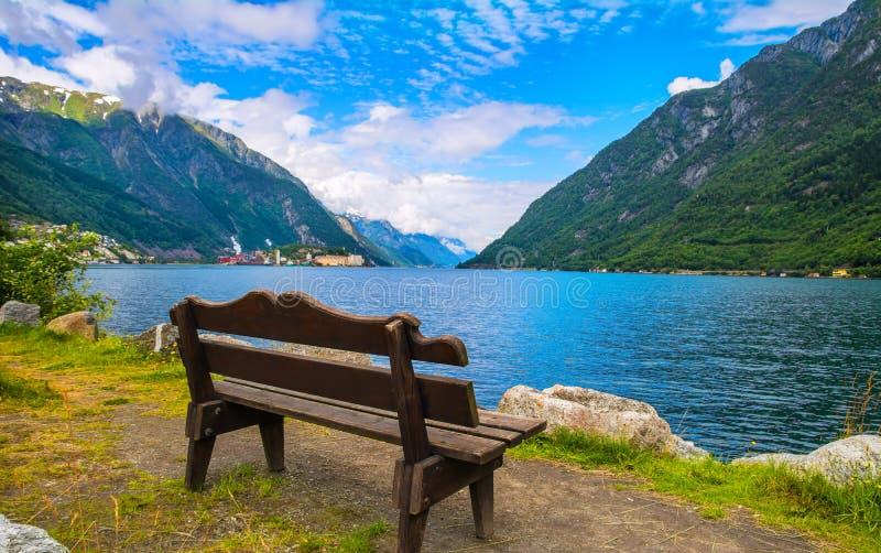 Bänk nära fjorden i Odda, Norge royaltyfri fotografi