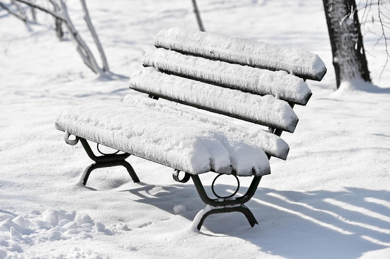 Bänk som täckas i snö efter snöfall arkivfoto
