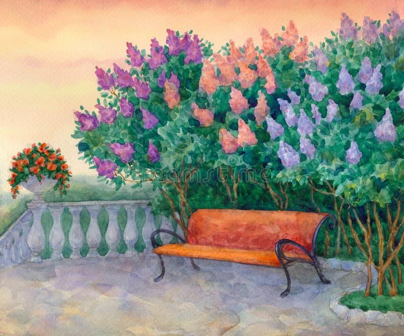 Bänk under en blomninglila stock illustrationer