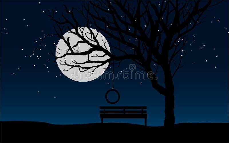 Bänk under månsken vektor illustrationer
