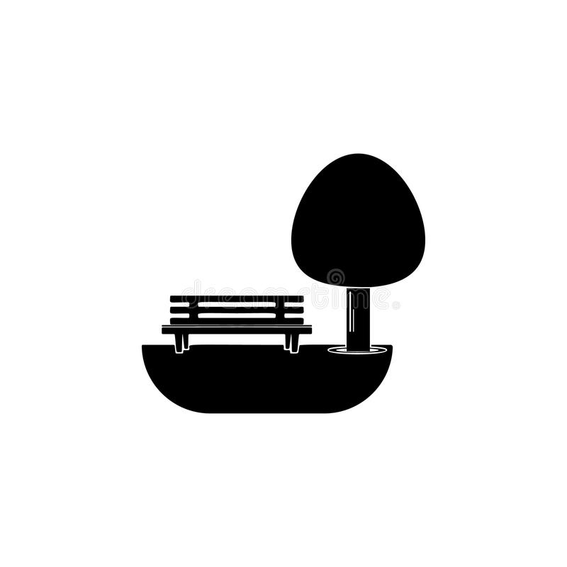 bänk under trädsymbolen Beståndsdelen av parkerar och landskapsymbolen En av samlingssymbolen för websitedesign och utveckling, a stock illustrationer