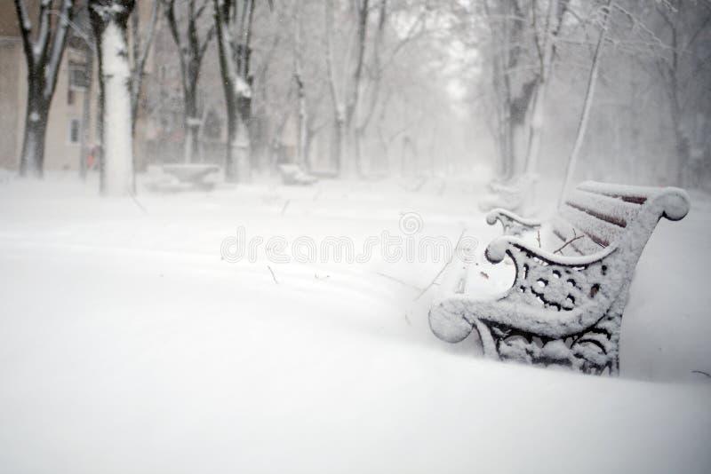 Bänkar som täckas med insnöad vinter arkivbilder