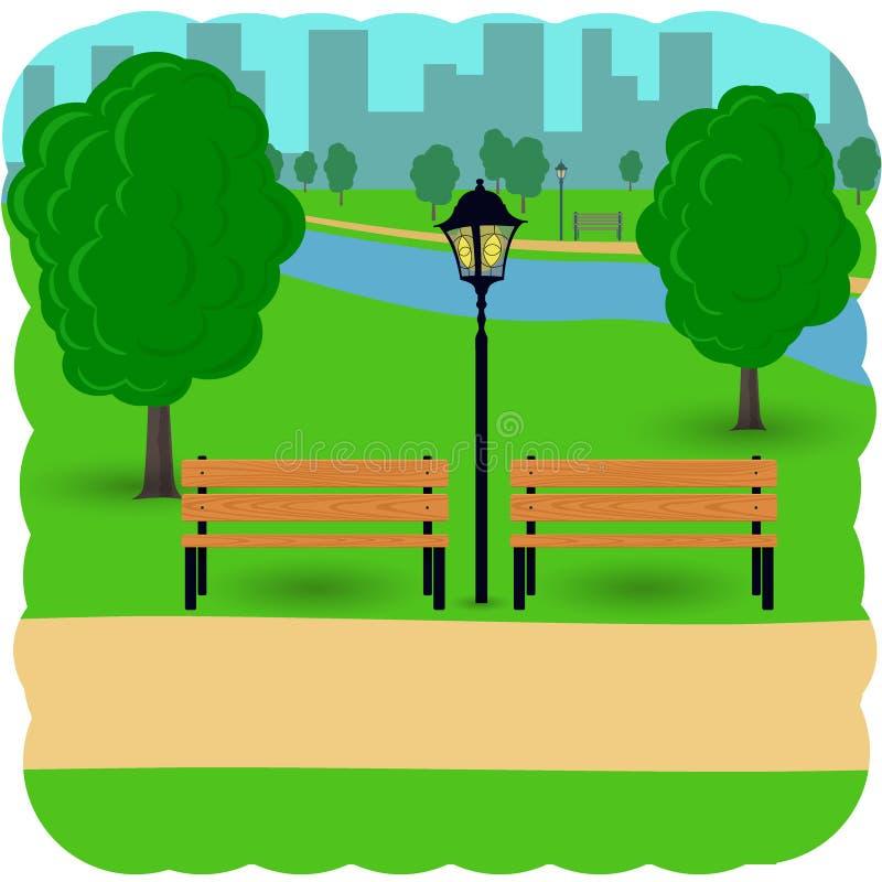 Bänke mit Baum und Laterne in der Stadt parken Karikatur-Illustration in der flachen Art stock abbildung