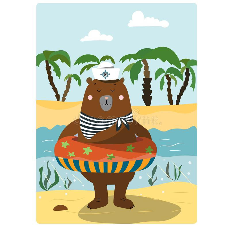 Bär, der im Meer mit Rettungsleine badet lizenzfreie abbildung