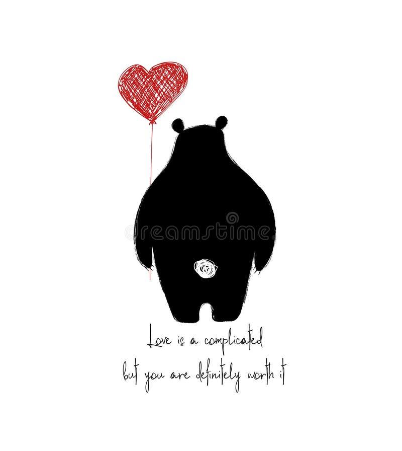 Bär drehte seine Rückseite und das Halten des Herz-Ballons stock abbildung