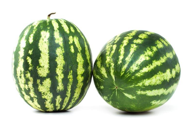 Bär för två moget vattenmelon på vit bakgrund royaltyfri bild