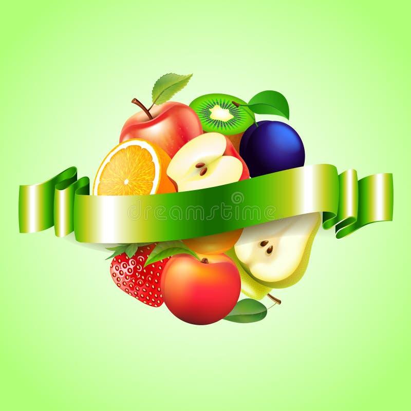 Bär frukt sfären med etikettvektorbakgrund royaltyfri illustrationer