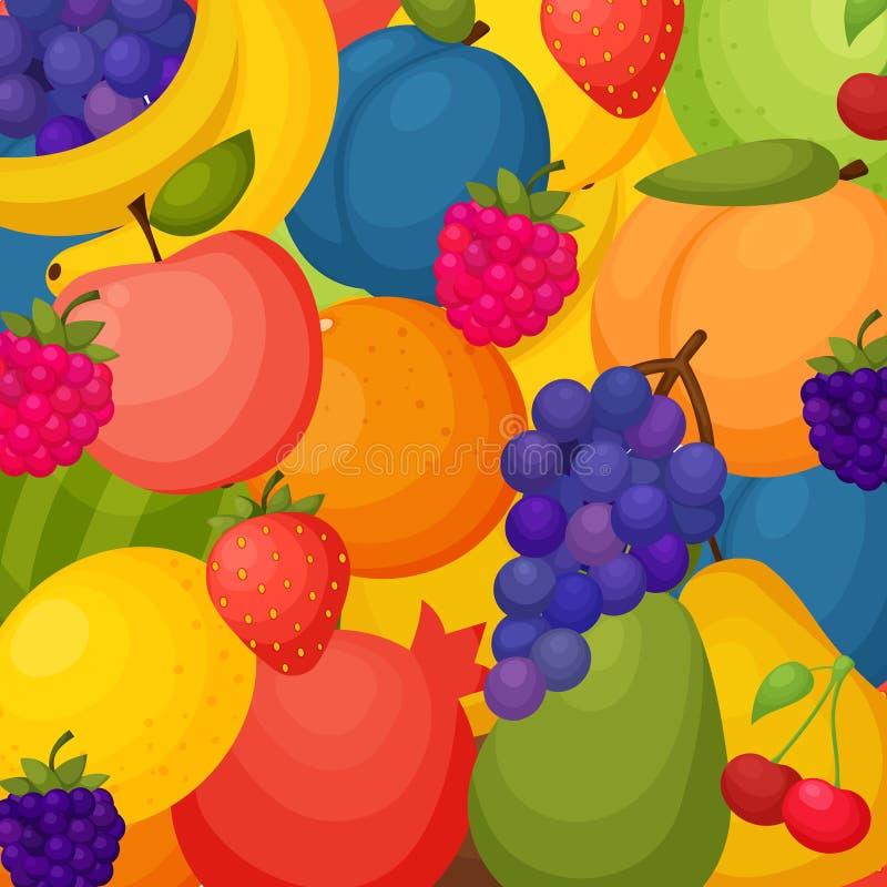 Bär fruktt bakgrund Färgrik mall för att laga mat, royaltyfri illustrationer