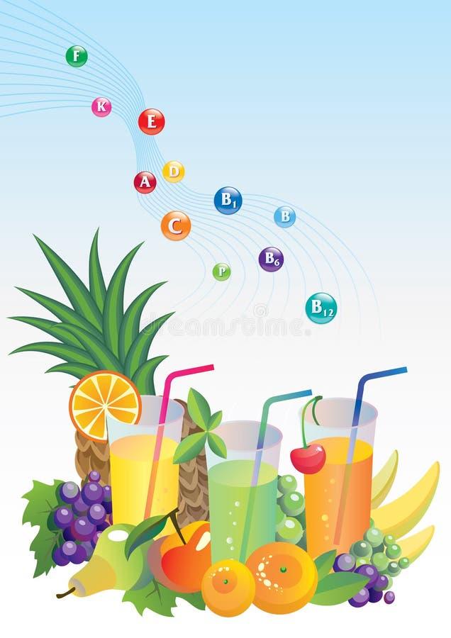 bär fruktt fruktsaftvitaminer stock illustrationer