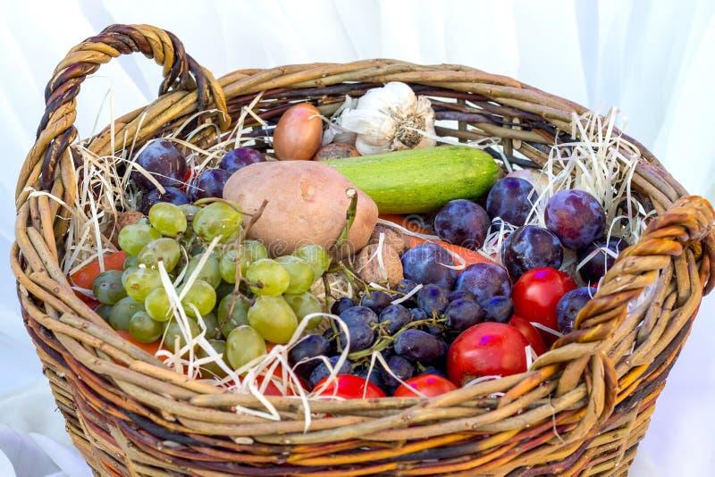 Bär, grönsaker och frukter i en korg på Thanksgiving_ royaltyfri foto